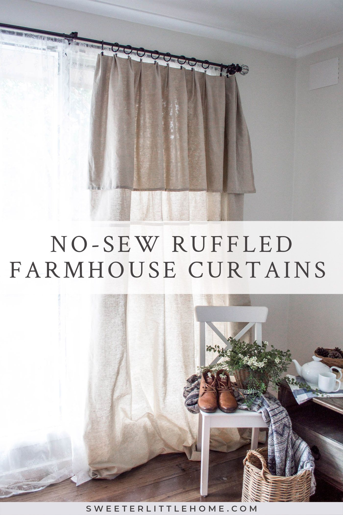 DIY nosew farmhouse curtains from a tablecloth