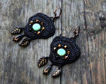 OOAK Black Gold Beadwork Earrings Bead Embroidered by Yolladesign