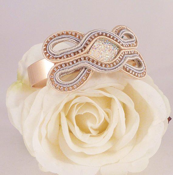 Rose gold bangle Soutache bangle Rose gold jewellery MollyG