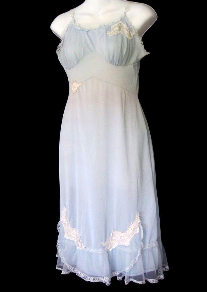 Pale Blue Vintage Slip Nightgown Long Nylon Applique Flowers Lace Edging Small