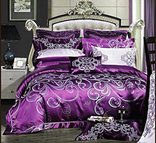 Luxury European Fadfay Home Textile Purple Comforter Set Purple