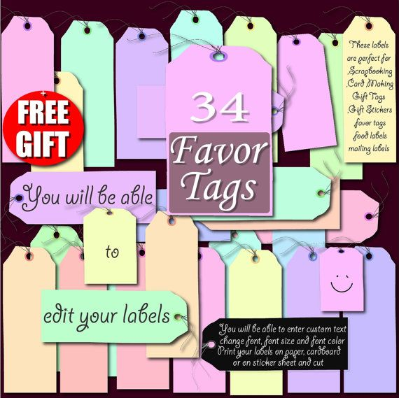 Digital label clip art printable label favor tag gift diy labels digital label clip art printable label favor tag gift diy labels print 36 pastel digital tags for scrapbooking and price tag label maker negle Gallery