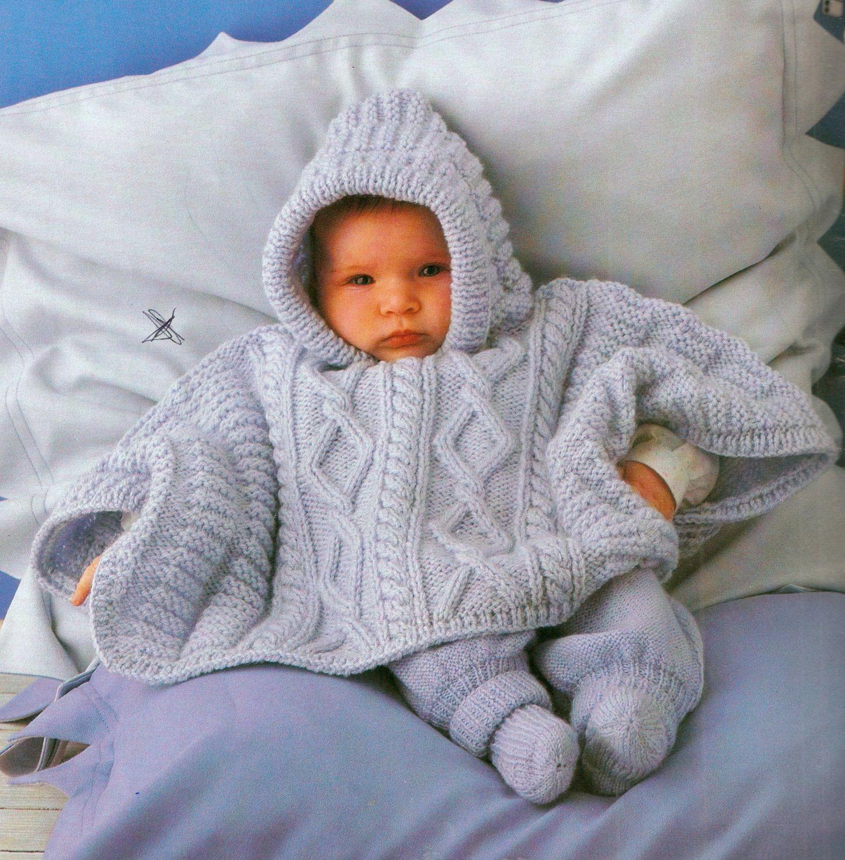 Baby\'s hooded poncho knitting pattern. 3 sizes by VBlittlecraftshop ...