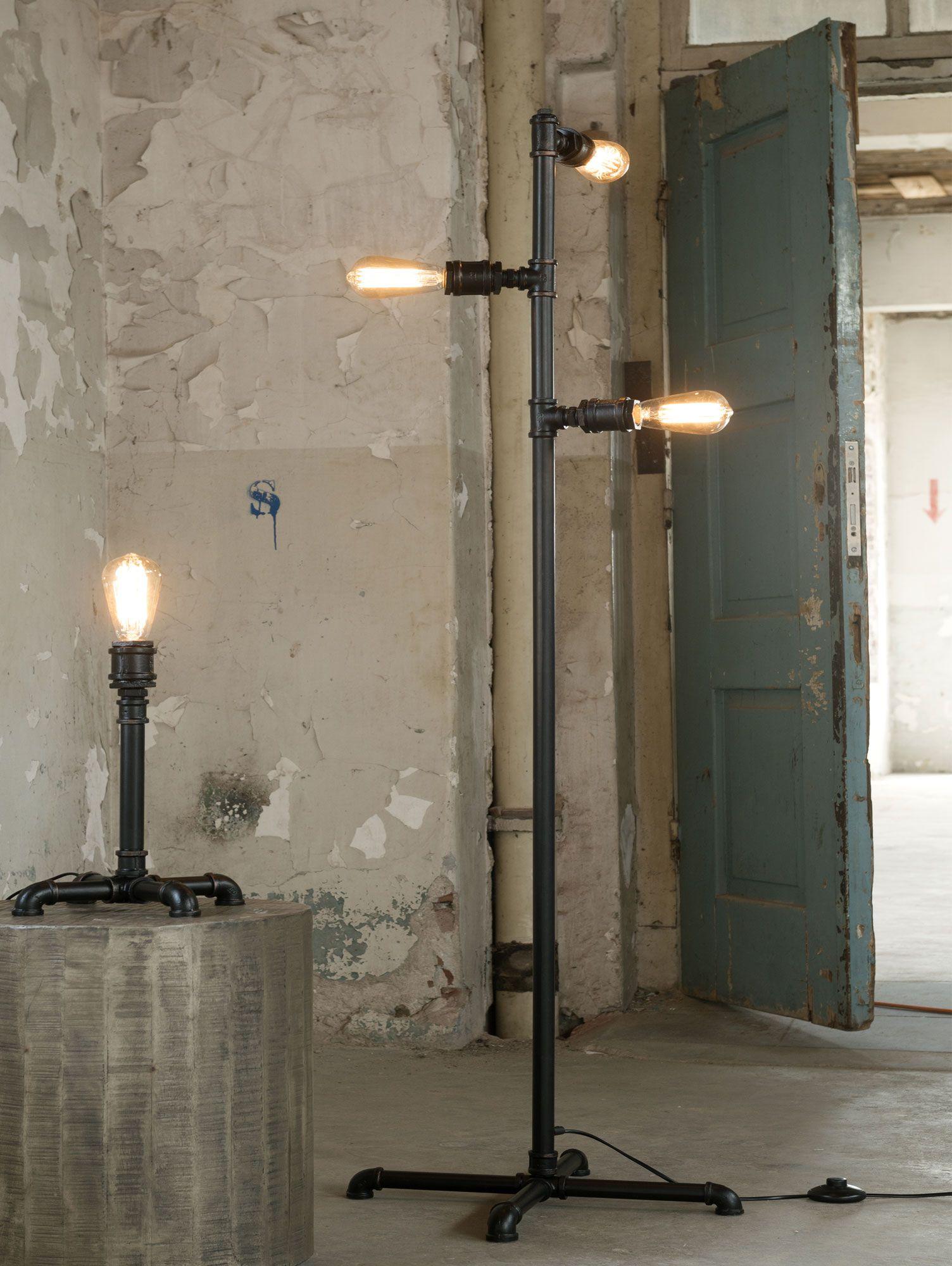 Tafel Stehlampe Industrial Tube Schwarz Bodenlampe Lampen