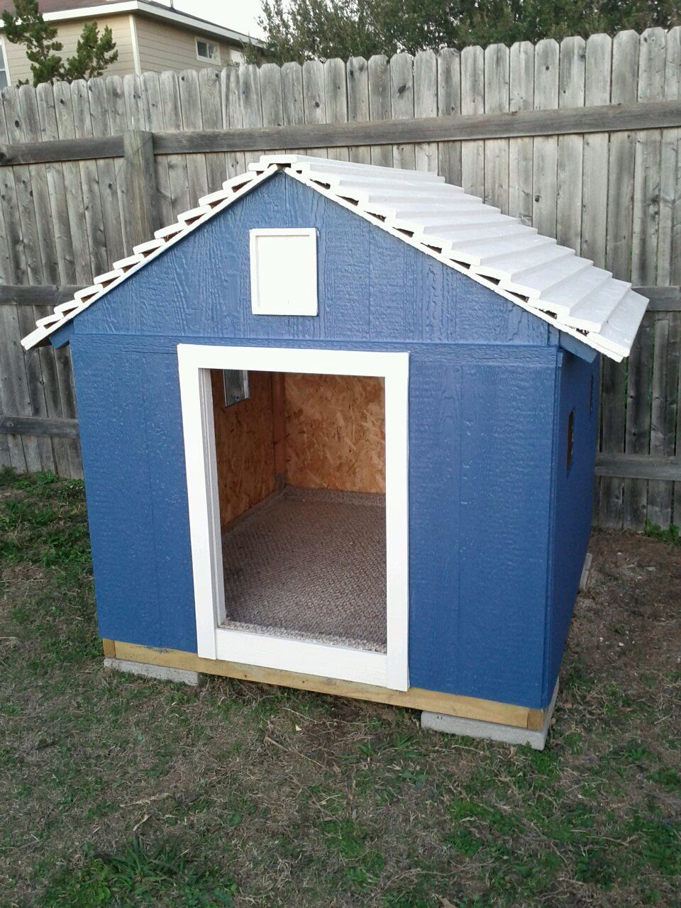 Dog house I built for a Great Dane ry solid and will last a lifetime took four grown men to move 4 feet all around x 4 feet in height as well