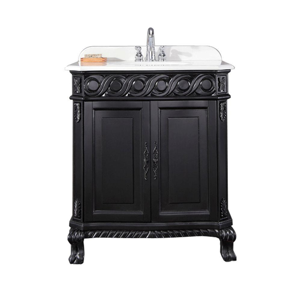 Ove Decors Trent 30 In W X 21 In D Single Sink Vanity In Black Antique With Cultured Marble Vanity Top In White Trent 30 The Home Depot In 2021 Marble
