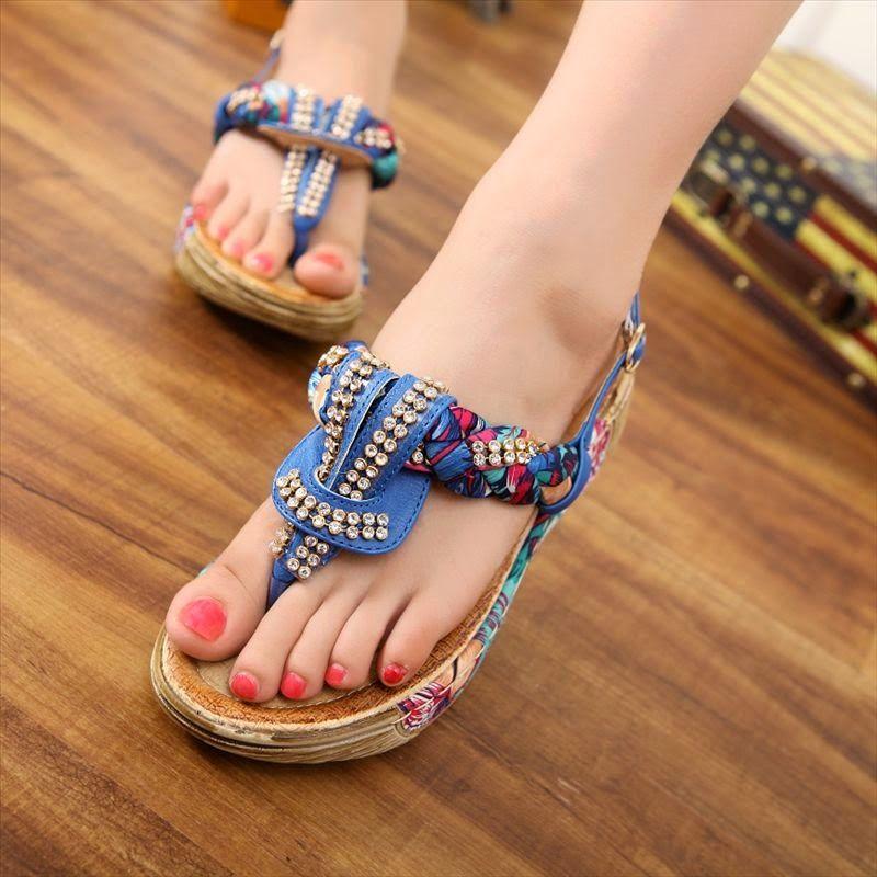 Floral sandals, Women shoes, Casual heels