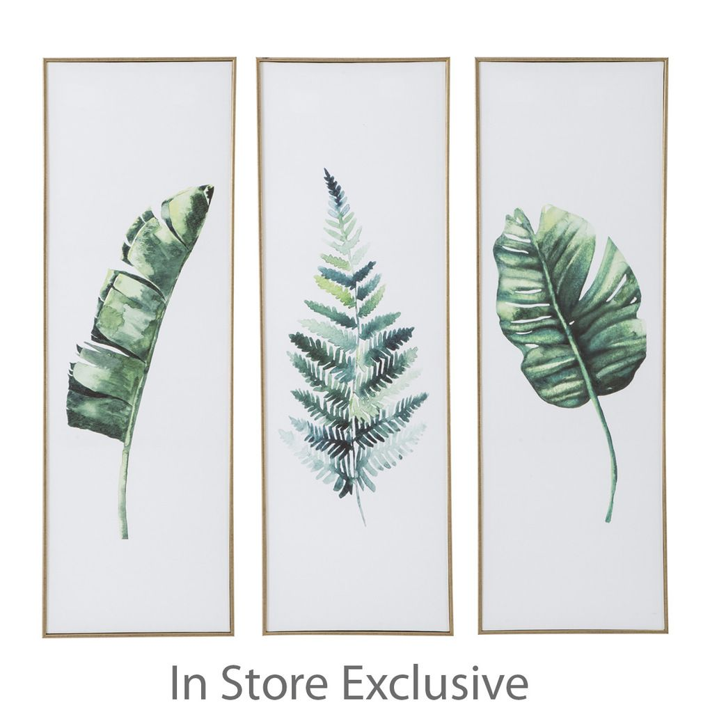 Canvas With Gold Capped Frame Printed 30 X 90 X 5cm Available In 3 Designs Banana Leaf Fern And Monstera Made In C Leaf Wall Art Fern Wall Art Fern Wallpaper