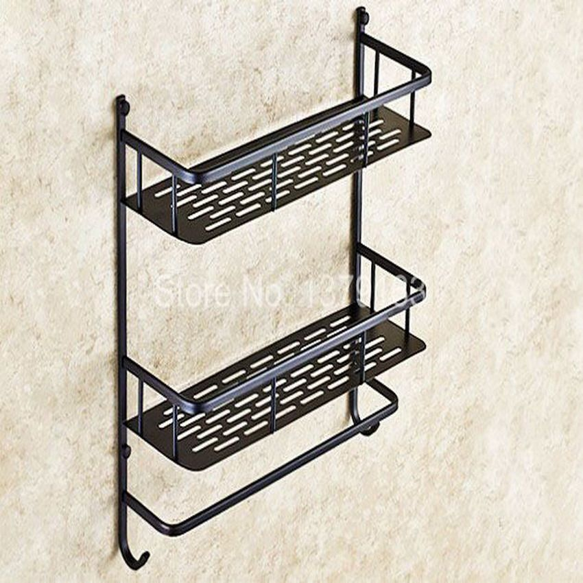 Black Oil Rubbed Brass Bathroom Accessory Dual Tier Shower Soap Sponge Tray Caddy Basket Wire Bathroom Shelf Decor Shelf Baskets Storage Shelves Over Toilet