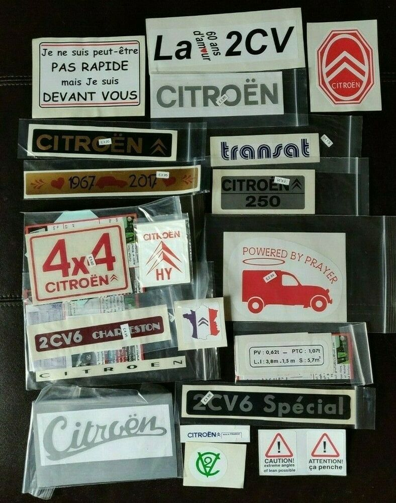 Job lot Citroen 2CV related various stickers 21 units