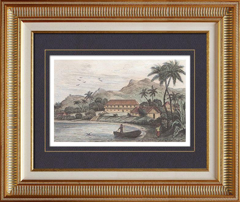 Islas Marianas - Guam - Umata - Casa Real - Palacio (Estados Unidos de América) Grabado original en talla dulce sobre acero dibujado por Danvin, grabado por Desaut. Agua-coloreado a mano. 1836