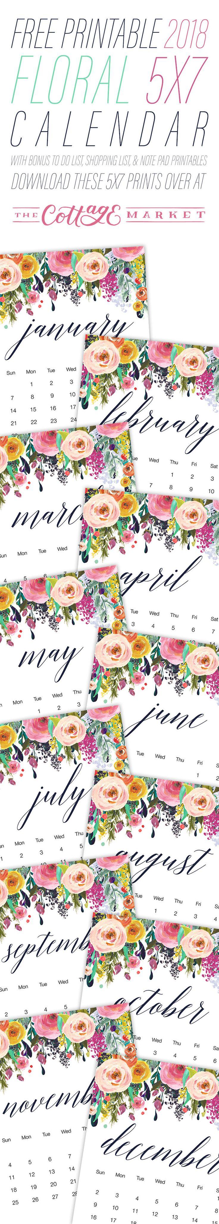Free Printable 2018 Floral 5×7 Calendar