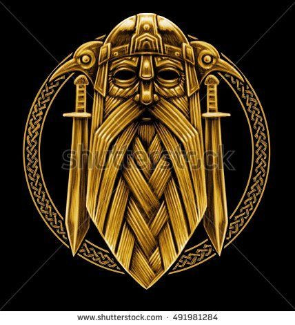 Norse God Odin With Crows And Swords Graphic Illustration In The Ring Celtic Ornament Viking Warrior Viking Art Celtic Art Norse