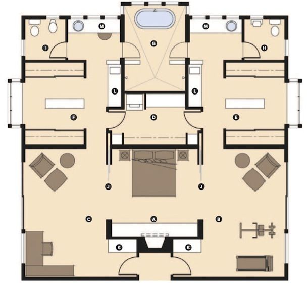 The master wing of this house is laid out to provide his for Master bedroom layout
