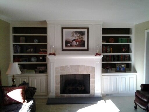 Ventless Gas Fireplace With Bookcases Living Room With Fireplace Family Room Home