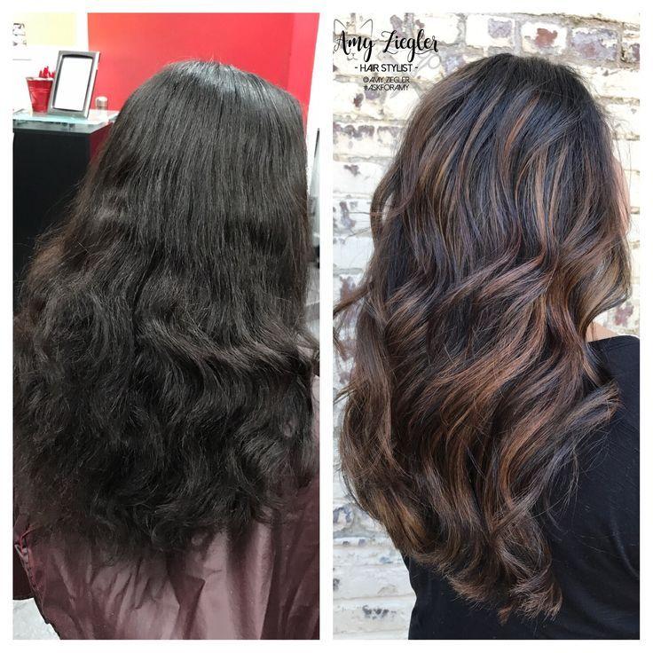 Hair coloring · awesome Avant,Apres  Before \u0026 After Dark Brunette Caramel  Balayage