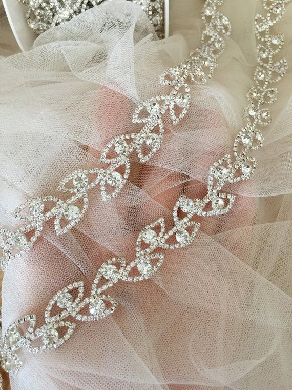 037a2d42be47d 1 Yard Exquisite Leaf Rhinestone Beaded Trim in Silver for Wedding ...