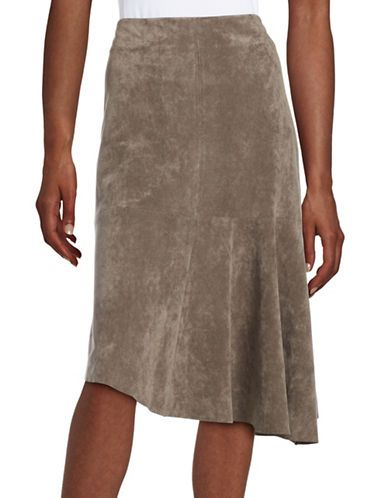 4f392feb2 Ivanka Trump Asymmetrical Faux Suede Skirt Women's Heather Taupe 16 ...