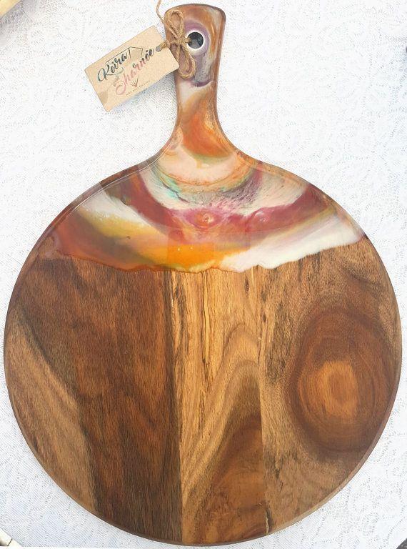 Handpainted Acacia Wood Amp Resin Round Cheese Chopping