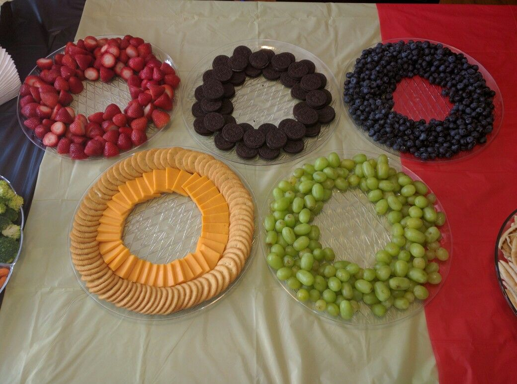 Olympic rings with food