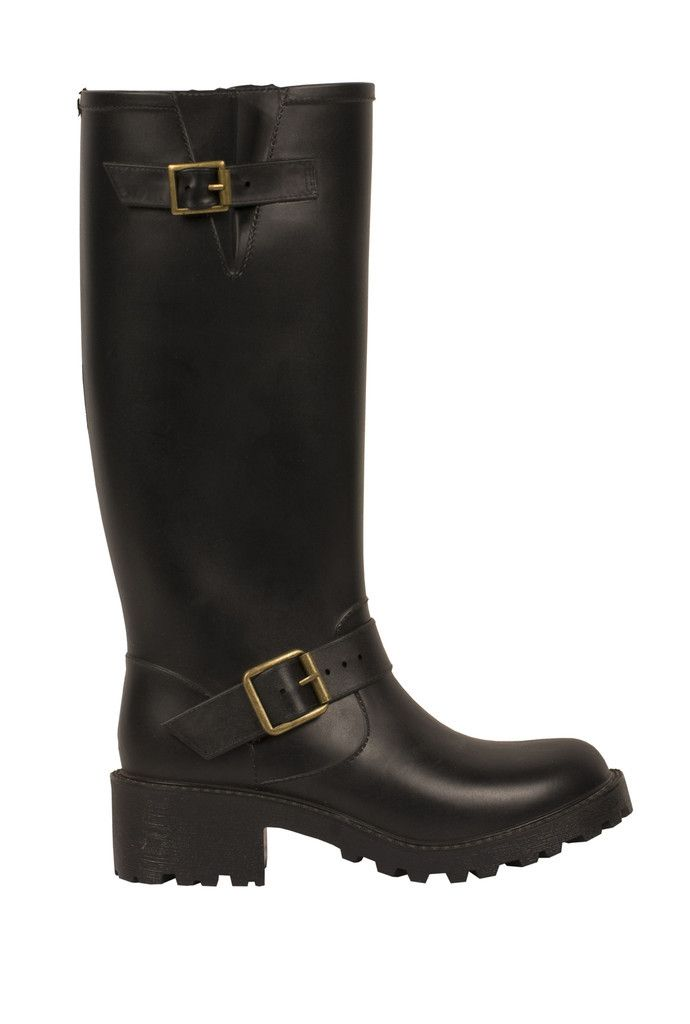 Moto Tall Solid Black ($75.00) Rain boots that don't look like ...