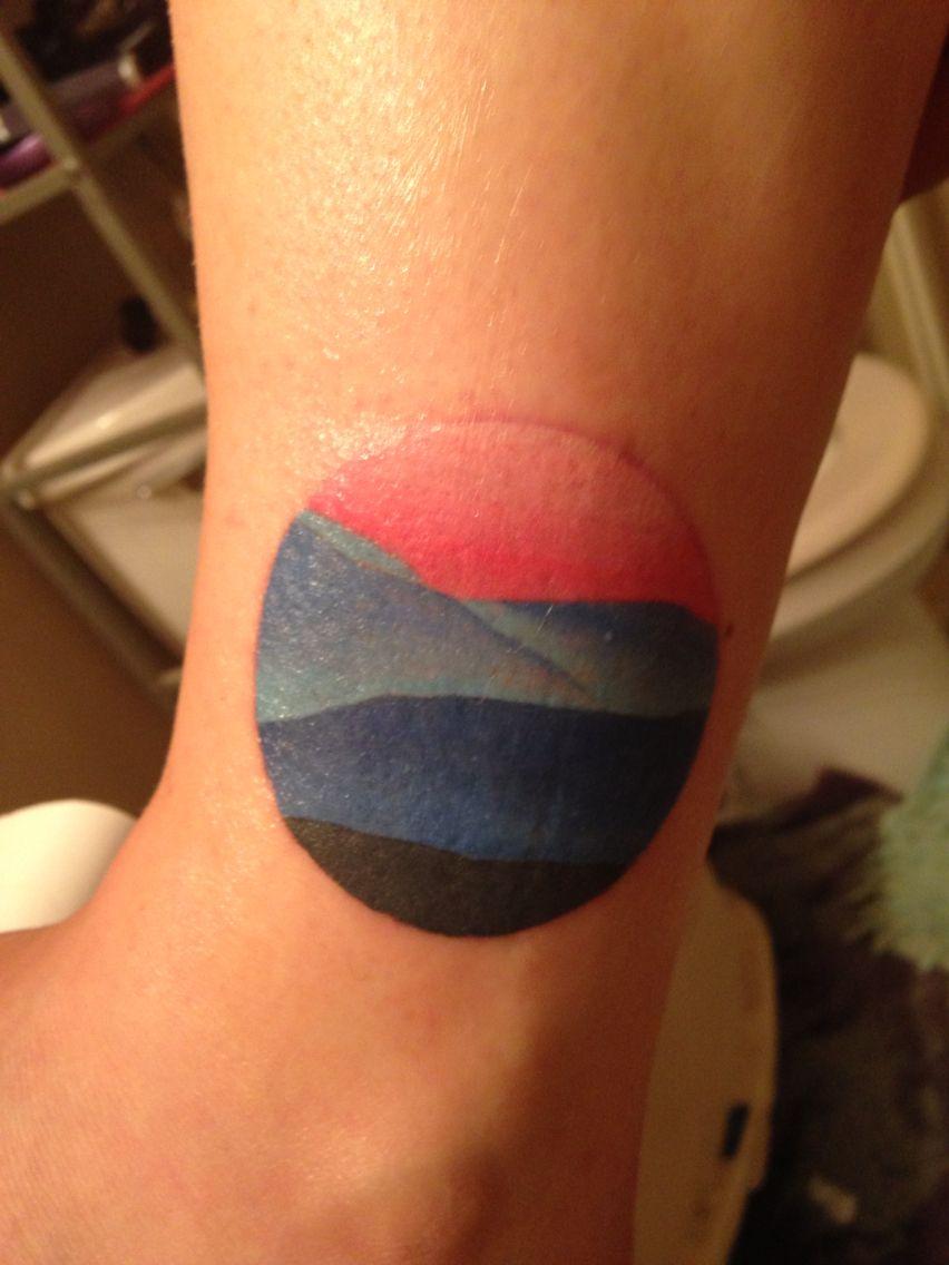 my newest addition blue ridge mountain sunset tattoo