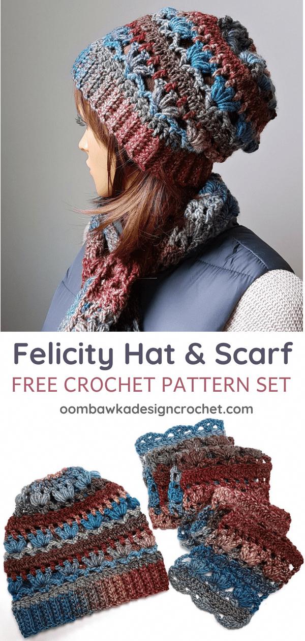 Felicity Hat and Scarf Pattern Set. Oombawka Design #crochet Free ...