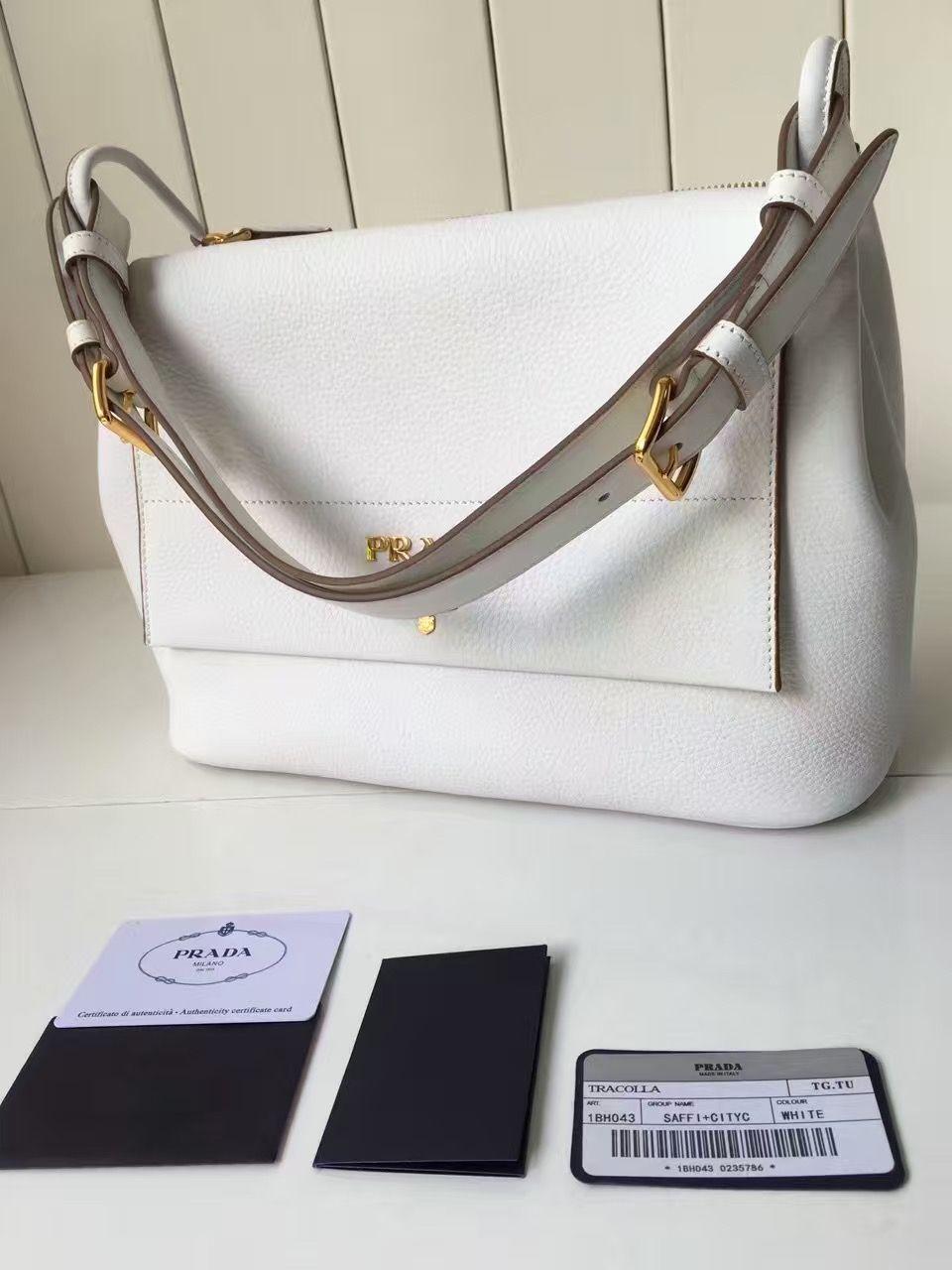 c5ecb1c2b838 Prada 1BD052 Grained Calf Leather Top Handle Bag White 2016