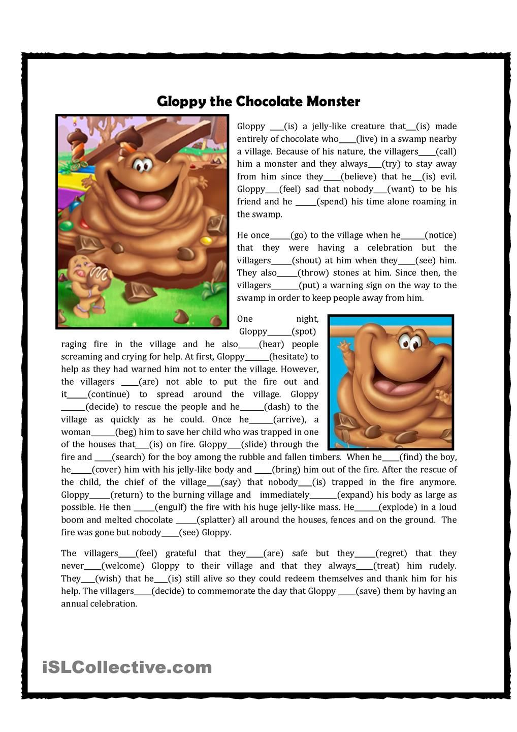 worksheet How Chocolate Is Made Worksheet candyland themed grammar exercise gloppy the chocolate monster worksheet free esl printable worksheets made by teachers