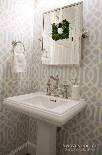 Wallpaper is Imperial Trellis Blue gray Dining room