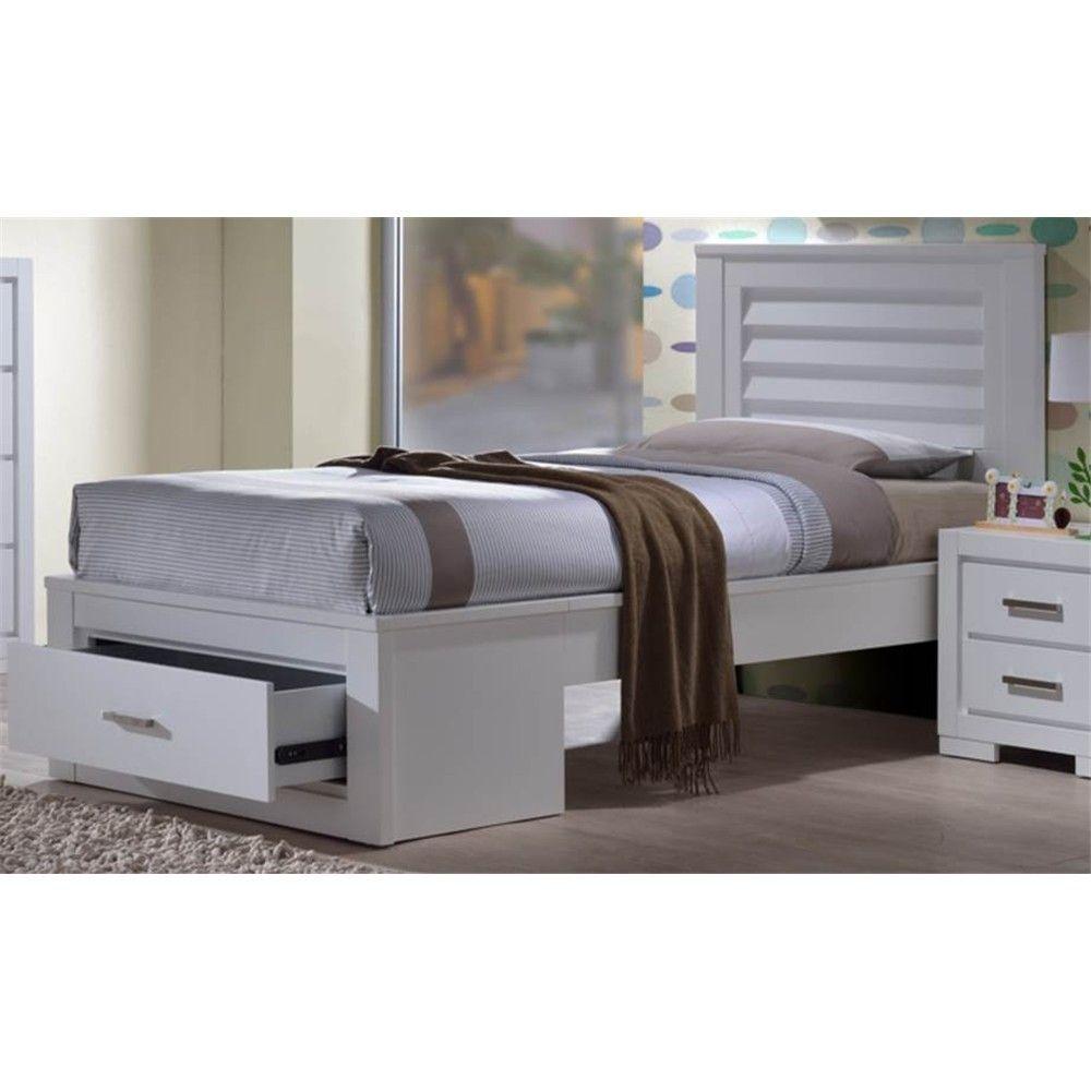 Blaise King Single Bed Frame Hardwood With Bed End Storage Drawer