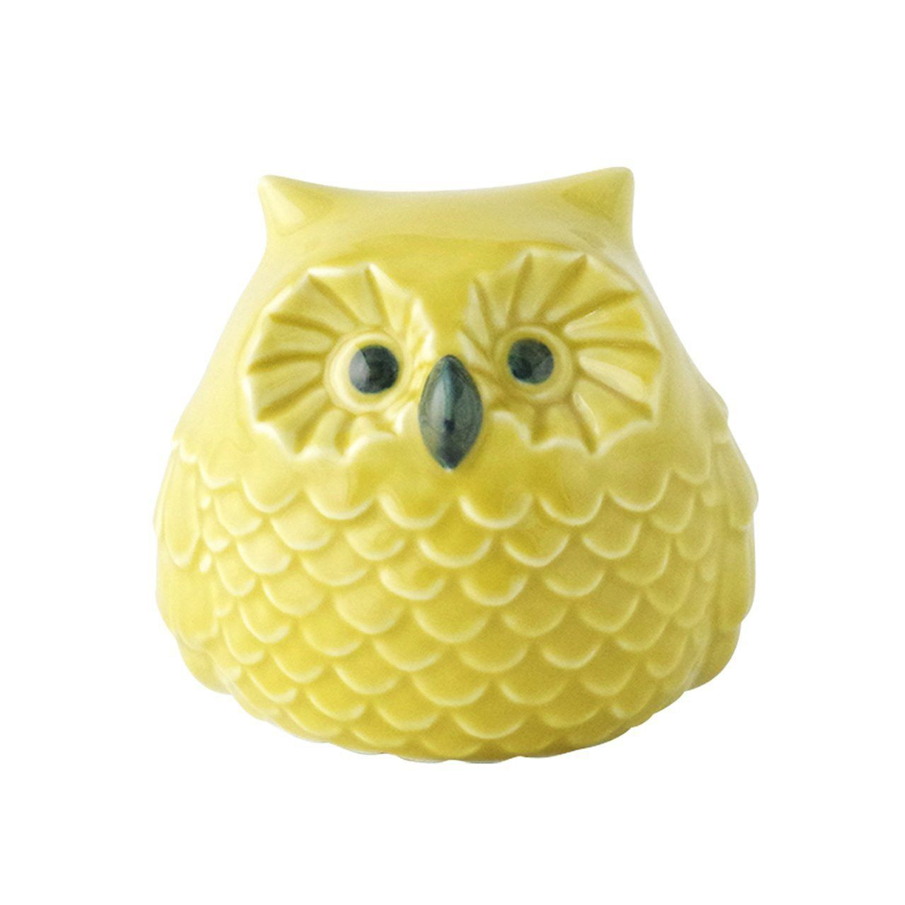Arita Porcelain Lucky Bird 'Yellow OWL' ornament Large 10cm