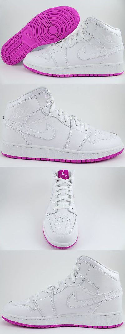 bedce3a677a4 Girls Shoes 57974  Nike Air Jordan 1 Mid Hi High White Fuchsia Pink Purple  Women Girl Us Youth Size -  BUY IT NOW ONLY   97.99 on eBay!