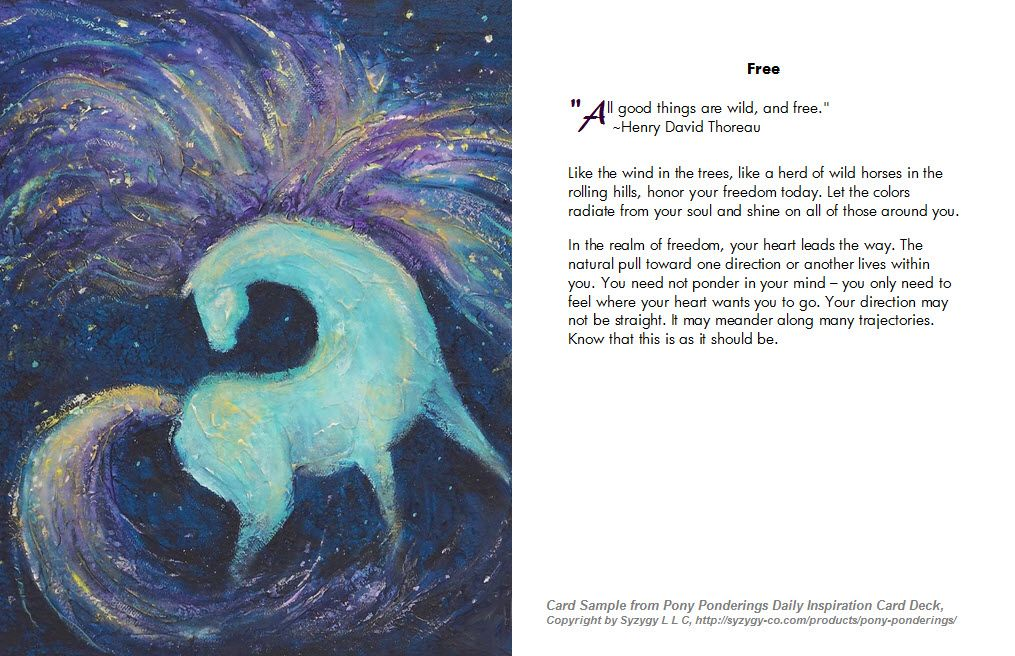 Free, Pony Ponderings, Inspiration Cards