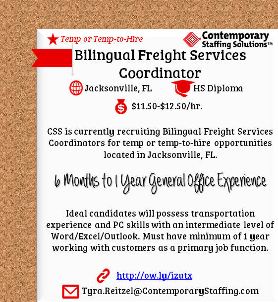 css is  hiring bilingual freight services coordinators in
