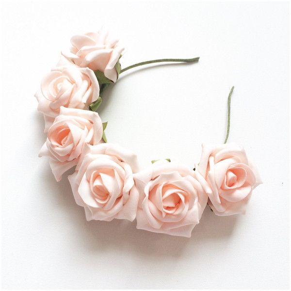 Sweet Rose Flower Crown Pastel Pink Roses Headband (Limited Edition) ( 22)  ❤ liked on Polyvore featuring accessories 91bcdf5e500