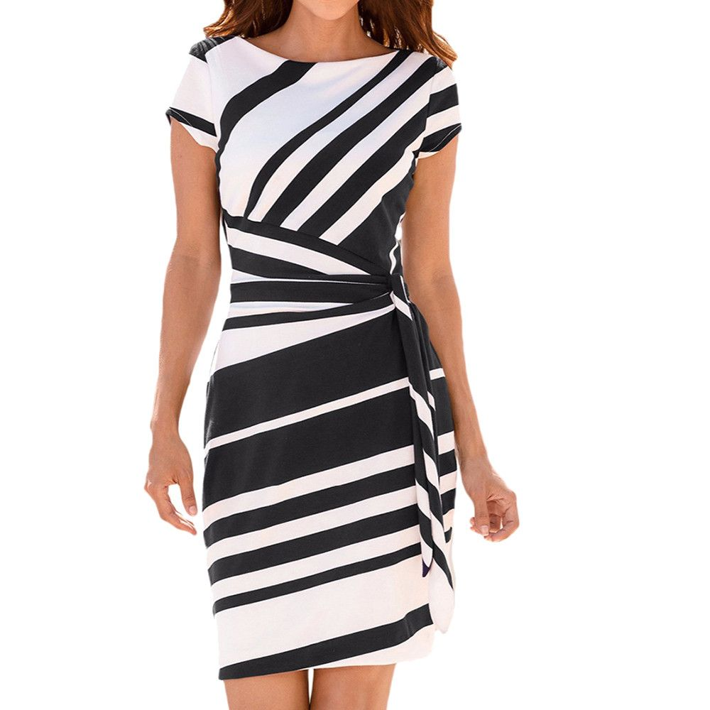 a1ef7f86325 Feitong 2018 Women s Working Simplee Sexy lace up halter Pencil Stripe Party  Dress Casual flocking tank