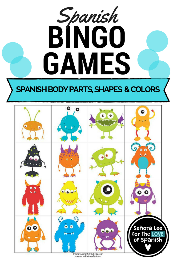 Spanish Bingo - Spanish Parts of the Body, Shapes, Numbers & Colors ...