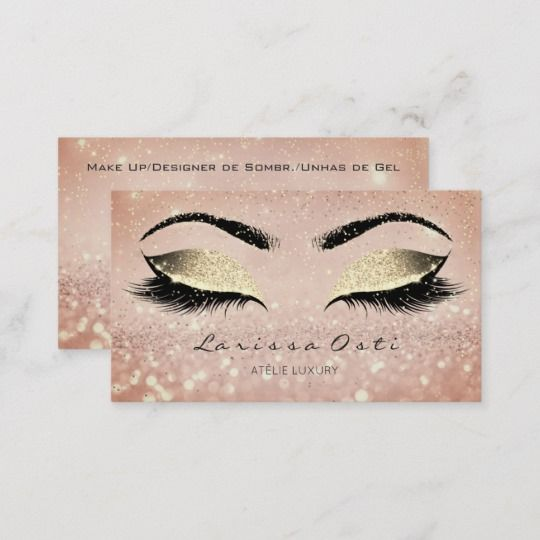 c5e12c4b5db Makeup Rose Gold Lashes Extension Studio Confetti Appointment Card ...