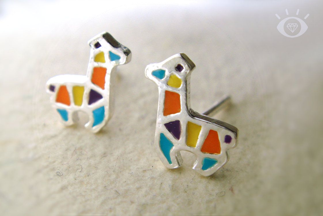 a4fbdacdd Sterling silver stud earrings featuring a llama or alpaca depicted in  colorful enamel geometric shapes. Each tiny earring measures approximately  7mm x 8mm ...