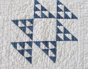 "Tiny Pieces Farmhouse Indigo Blue White Quilt Runner 39"" x 22"" | Vintageblessings"