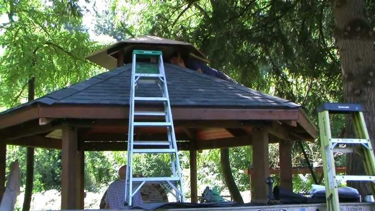 Custom built gazebo and grill backyard idea pinterest for Plans for gazebo with fireplace