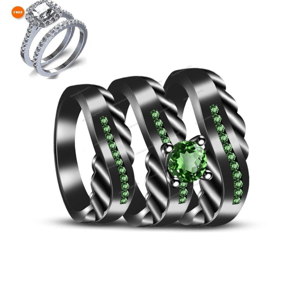 Peridot Wedding Trio Set 14k Black Gold Matching His Her Engagement Bridal Ring Silvergemsjewelry Wedding Ring Trio Sets Ruby Wedding Rings Blue Wedding Rings