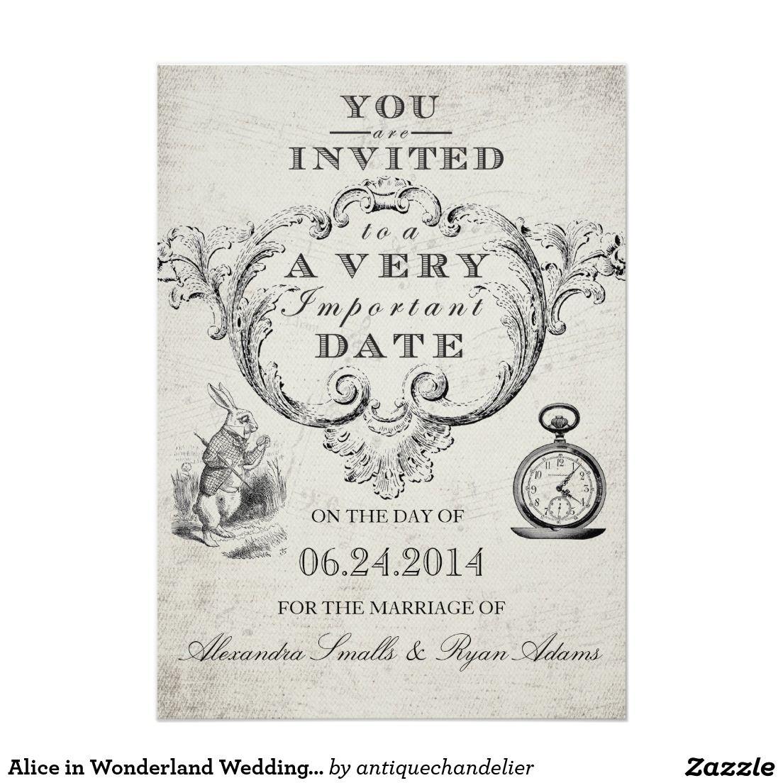 Alice in Wonderland Wedding Invitation | Weddings, Wedding and ...