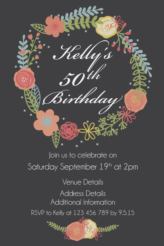 50th womens birthday party digital printable invitation template 50th womens birthday party digital printable invitation template rustic wreath filmwisefo Gallery