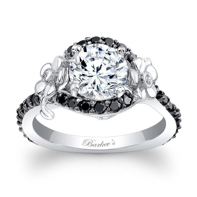 Flower Engagement Ring With Black Diamonds 7936lbkw Fl Accents Grace The Sides Of This Unique White Gold And Diamond