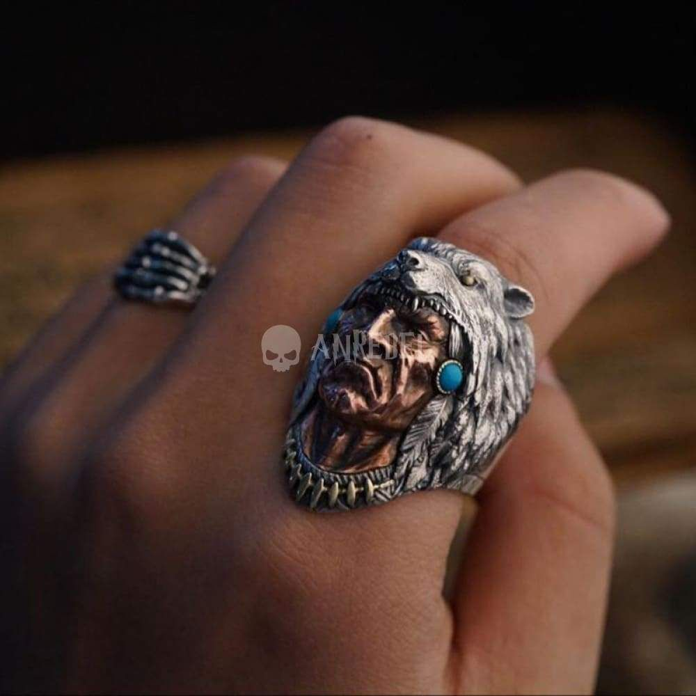 1Pcs Indian Chief Head old Silver Ring Band Wrap Rings Men Jewelry Fashion Gift