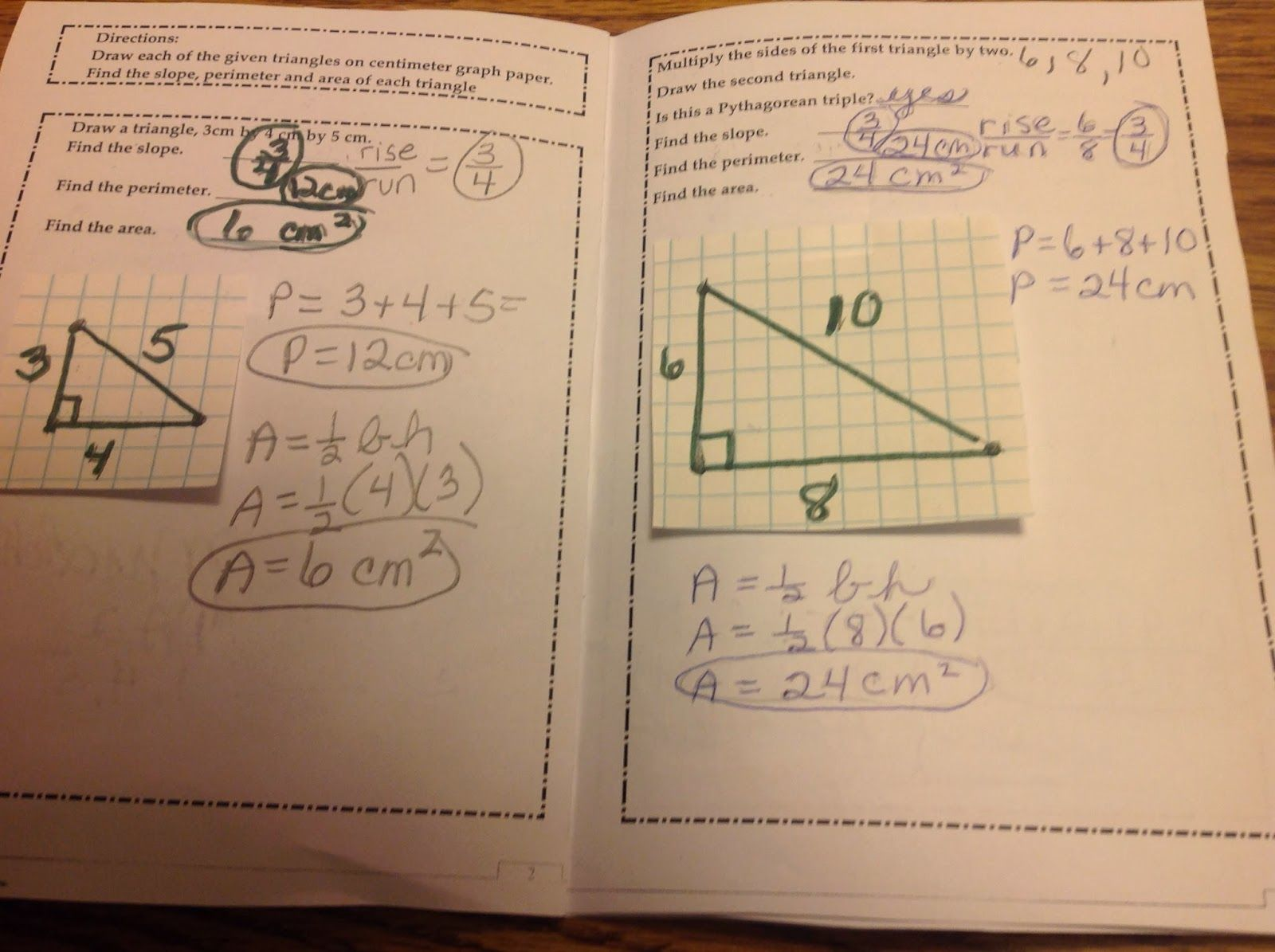 Equation Freak Pythagorean Triple Foldable Booklet