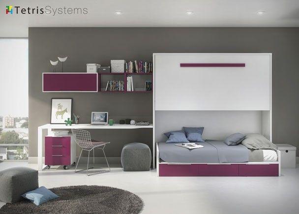 Cama abatible dormitorio juvenil con cama alta for Dormitorios juveniles abatibles