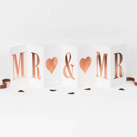 Mr & Mr Concertina Card; Rose Gold Foil Gay Wedding Card; Gay ...